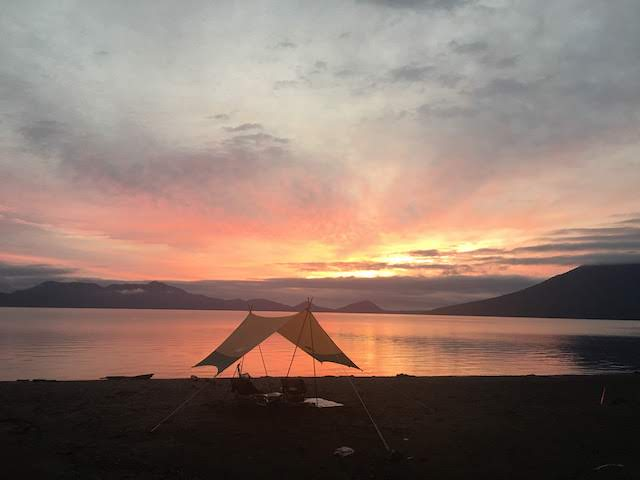 北海道支笏湖脇の美笛キャンプ場でオートキャンプ